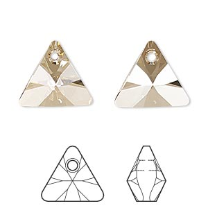 drop, swarovski crystals, crystal passions, crystal golden shadow, 16mm xilion triangle pendant (6628). sold per pkg of 6.