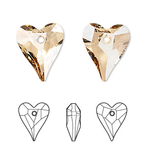 drop, swarovski crystals, crystal passions, crystal golden shadow, 17x14mm faceted wild heart pendant (6240). sold per pkg of 72.