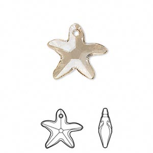 drop, swarovski crystals, crystal passions, crystal golden shadow, 17x16mm faceted starfish pendant (6721). sold individually.