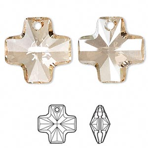 drop, swarovski crystals, crystal passions, crystal golden shadow, 20x20mm faceted cross pendant (6866). sold individually.