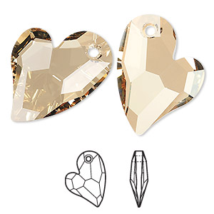 drop, swarovski crystals, crystal passions, crystal golden shadow, 27x20mm faceted devoted 2 u heart pendant (6261). sold individually.
