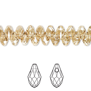 drop, swarovski crystals, crystal passions, crystal golden shadow, 7x4mm faceted briolette pendant (6007). sold per pkg of 48.