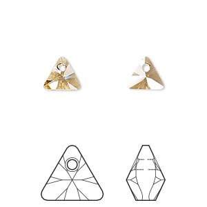 drop, swarovski crystals, crystal passions, crystal golden shadow, 8mm xilion triangle pendant (6628). sold per pkg of 6.