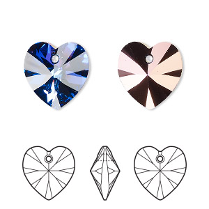 drop, swarovski crystals, crystal passions, crystal heliotrope, 14x14mm xilion heart pendant (6228). sold per pkg of 24.