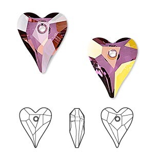 drop, swarovski crystals, crystal passions, crystal lilac shadow, 17x14mm faceted wild heart pendant (6240). sold individually.