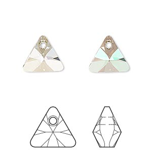 drop, swarovski crystals, crystal passions, crystal luminous green, 12mm xilion triangle pendant (6628). sold per pkg of 2.