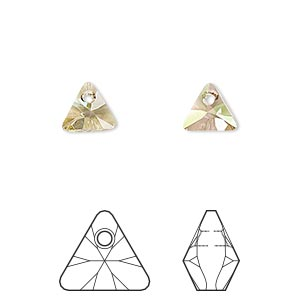 drop, swarovski crystals, crystal passions, crystal luminous green, 8mm xilion triangle pendant (6628). sold per pkg of 24.