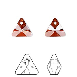 drop, swarovski crystals, crystal passions, crystal red magma, 12mm xilion triangle pendant (6628). sold per pkg of 12.