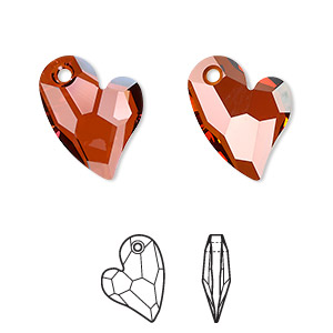drop, swarovski crystals, crystal passions, crystal red magma, 17x13mm faceted devoted 2 u heart pendant (6261). sold per pkg of 6.