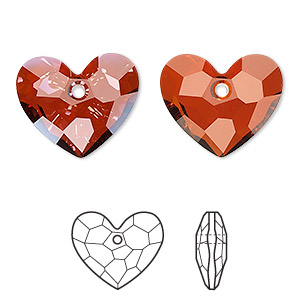 drop, swarovski crystals, crystal passions, crystal red magma, 18x15mm faceted truly in love heart pendant (6264). sold individually.