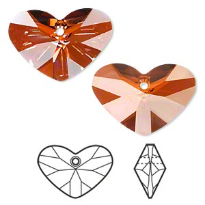 drop, swarovski crystals, crystal passions, crystal red magma, 27x19mm faceted crazy 4 u heart pendant (6260). sold per pkg of 4.