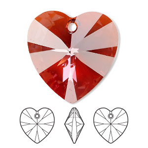 drop, swarovski crystals, crystal passions, crystal red magma, 28x28mm xilion heart pendant (6228). sold individually.