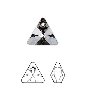 drop, swarovski crystals, crystal passions, crystal silver night, 16mm xilion triangle pendant (6628). sold individually.