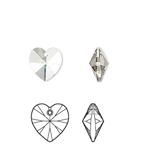 drop, swarovski crystals, crystal passions, crystal silver shade, 10x10mm xilion heart pendant (6228). sold per pkg of 2.