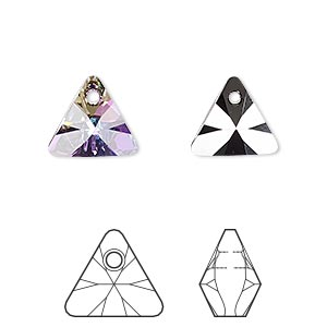 drop, swarovski crystals, crystal passions, crystal vitrail light p, 12mm xilion triangle pendant (6628). sold per pkg of 12.