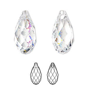 drop, swarovski crystals, crystal passions, crystal white patina, 11x5.5mm faceted briolette pendant (6010). sold per pkg of 24.