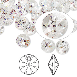 drop, swarovski crystals, crystal passions, crystal white patina, 8mm xilion rivoli pendant (6428). sold per pkg of 12.