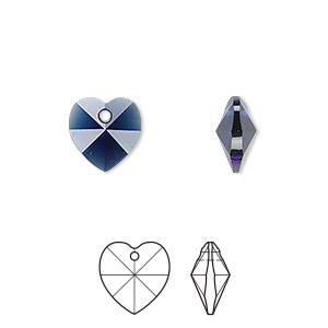 drop, swarovski crystals, crystal passions, dark indigo, 10x10mm faceted heart pendant (6202). sold per pkg of 2.