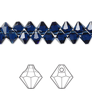 drop, swarovski crystals, crystal passions, dark indigo, 6mm faceted bicone pendant (6301). sold per pkg of 144 (1 gross).