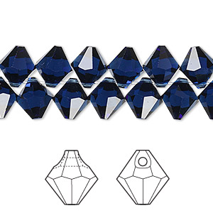 drop, swarovski crystals, crystal passions, dark indigo, 8mm faceted bicone pendant (6301). sold per pkg of 144 (1 gross).