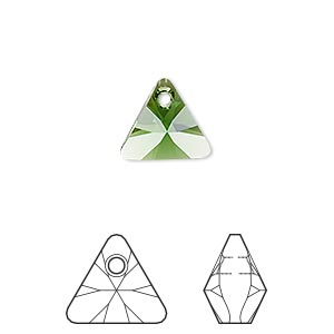 drop, swarovski crystals, crystal passions, dark moss green, 12mm xilion triangle pendant (6628). sold per pkg of 2.