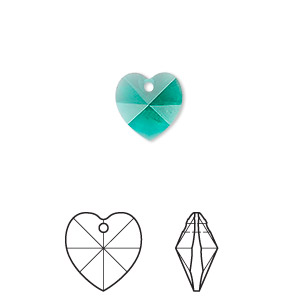 drop, swarovski crystals, crystal passions, emerald, 10x10mm xilion heart pendant (6228). sold per pkg of 2.
