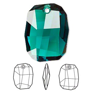 drop, swarovski crystals, crystal passions, emerald, 28x21mm faceted graphic pendant (6685). sold per pkg of 6.
