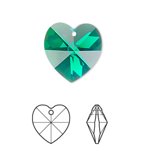 drop, swarovski crystals, crystal passions, emerald ab, 18x18mm xilion heart pendant (6228). sold individually.