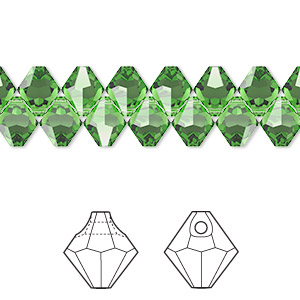drop, swarovski crystals, crystal passions, fern green, 6mm faceted bicone pendant (6301). sold per pkg of 12.