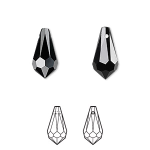 drop, swarovski crystals, crystal passions, jet, 15x7.5mm faceted teardrop pendant (6000). sold per pkg of 2.
