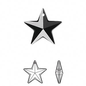 drop, swarovski crystals, crystal passions, jet, 20x19mm faceted star pendant (6714). sold individually.