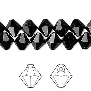 drop, swarovski crystals, crystal passions, jet, 8mm faceted bicone pendant (6301). sold per pkg of 12.
