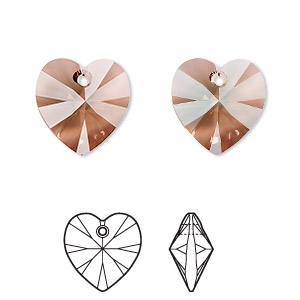 drop, swarovski crystals, crystal passions, jonquil antique pink, 14mm xilion heart (6228). sold individually.