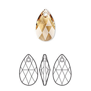 drop, swarovski crystals, crystal passions, light colorado topaz, 16x9mm faceted pear pendant (6106). sold per pkg of 24.