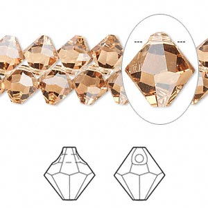 drop, swarovski crystals, crystal passions, light colorado topaz, 8mm faceted bicone pendant (6301). sold per pkg of 12.