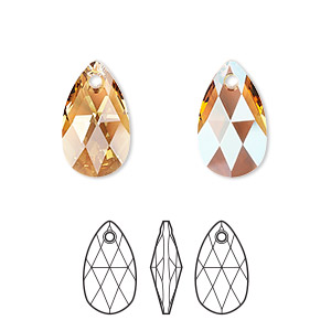 drop, swarovski crystals, crystal passions, light colorado topaz shimmer, 16x9mm faceted pear pendant (6106). sold per pkg of 24.
