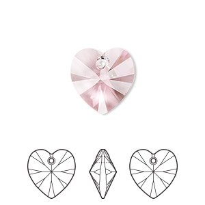 drop, swarovski crystals, crystal passions, light rose, 14x14mm xilion heart pendant (6228). sold per pkg of 24.