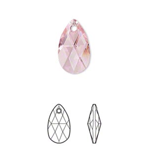 drop, swarovski crystals, crystal passions, light rose, 16x9mm faceted pear pendant (6106). sold per pkg of 24.