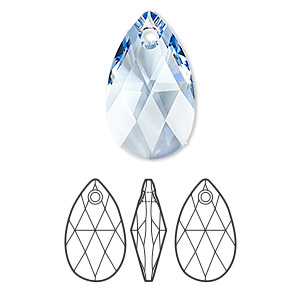 drop, swarovski crystals, crystal passions, light sapphire, 22x13mm faceted pear pendant (6106). sold per pkg of 24.