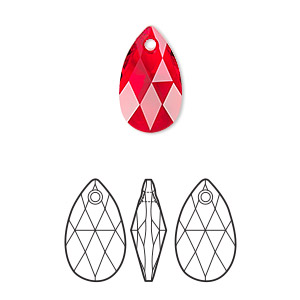 drop, swarovski crystals, crystal passions, light siam, 16x9mm faceted pear pendant (6106). sold per pkg of 24.