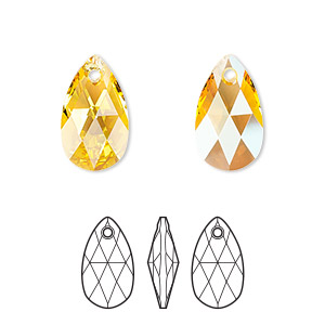 drop, swarovski crystals, crystal passions, light topaz shimmer, 16x9mm faceted pear pendant (6106). sold per pkg of 24.