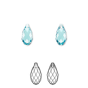 drop, swarovski crystals, crystal passions, light turquoise, 11x5.5mm faceted briolette pendant (6010). sold per pkg of 24.