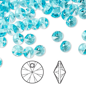 drop, swarovski crystals, crystal passions, light turquoise, 6mm xilion rivoli pendant (6428). sold per pkg of 12.