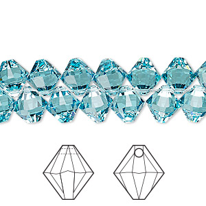 drop, swarovski crystals, crystal passions, light turquoise, 8mm xilion bicone pendant (6328). sold per pkg of 144 (1 gross).