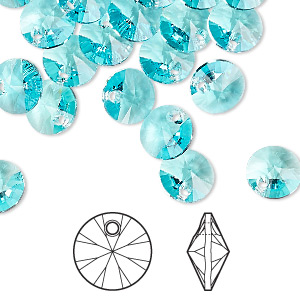 drop, swarovski crystals, crystal passions, light turquoise, 8mm xilion rivoli pendant (6428). sold per pkg of 12.
