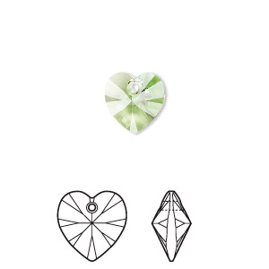 drop, swarovski crystals, crystal passions, peridot, 10x10mm xilion heart pendant (6228). sold per pkg of 2.