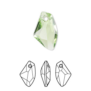 drop, swarovski crystals, crystal passions, peridot, 19x11mm faceted galactic vertical pendant (6656). sold per pkg of 24.