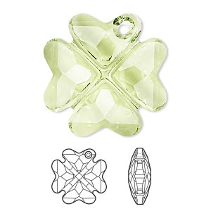 drop, swarovski crystals, crystal passions, peridot, 28mm faceted clover pendant (6764). sold individually.
