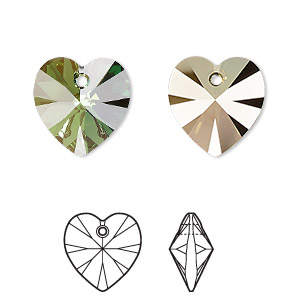 drop, swarovski crystals, crystal passions, peridot bronze shade, 14mm xilion heart pendant (6228). sold individually.