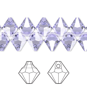 drop, swarovski crystals, crystal passions, provence lavender, 8mm faceted bicone pendant (6301). sold per pkg of 12.